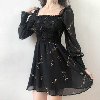 Black Floral Printed Long Puff-Sleeved Dress