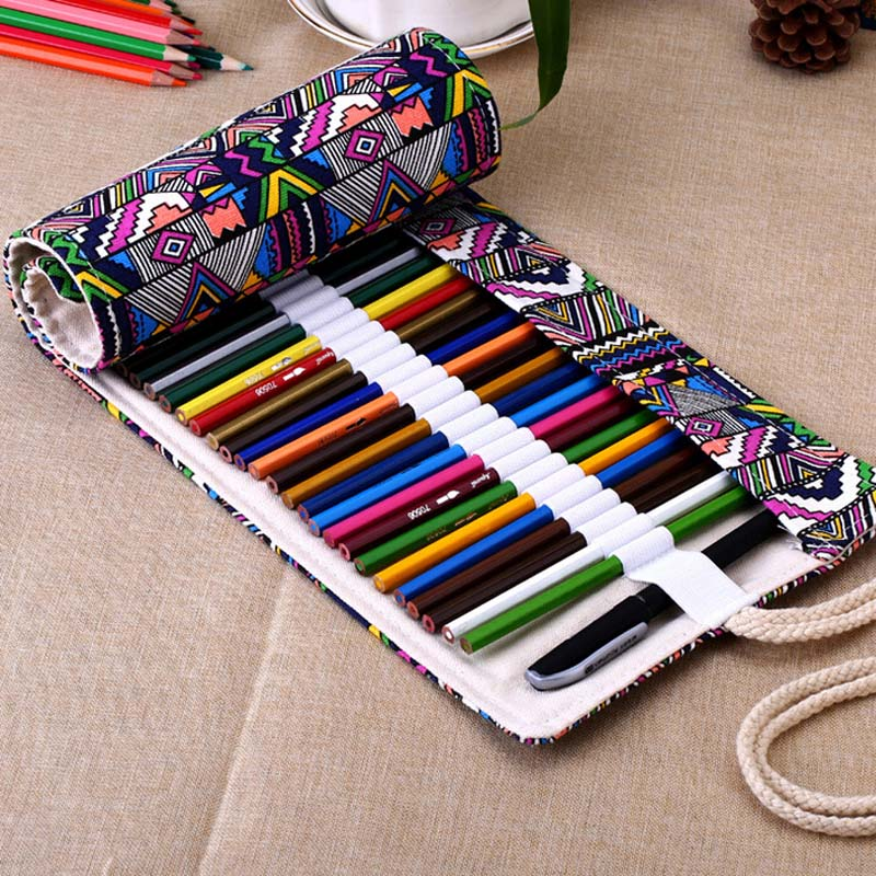 Canvas Roll Up Pencil Bag Pen Case Holder Storage Pouch