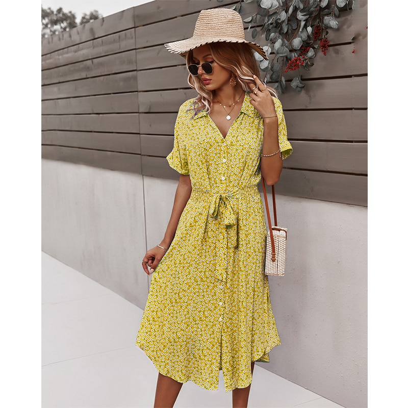 Casual Front Split and Button Up Long Dress
