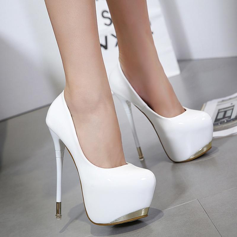 Gold Tip Platform Patent Leather High Heels