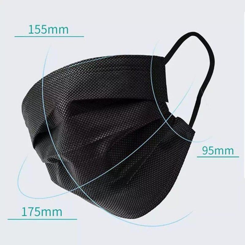 Black Disposable 3-Ply Adjustable Face Masks