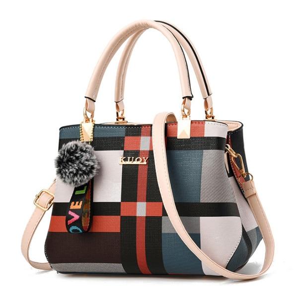 Casual Leather Block Stitch Shoulder Bag
