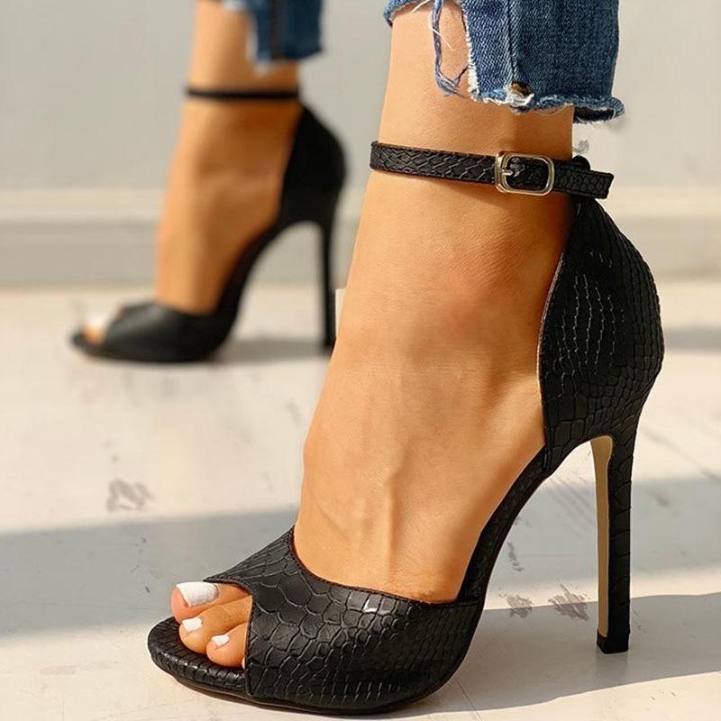 Snakeskin Buckle Strap High Heels