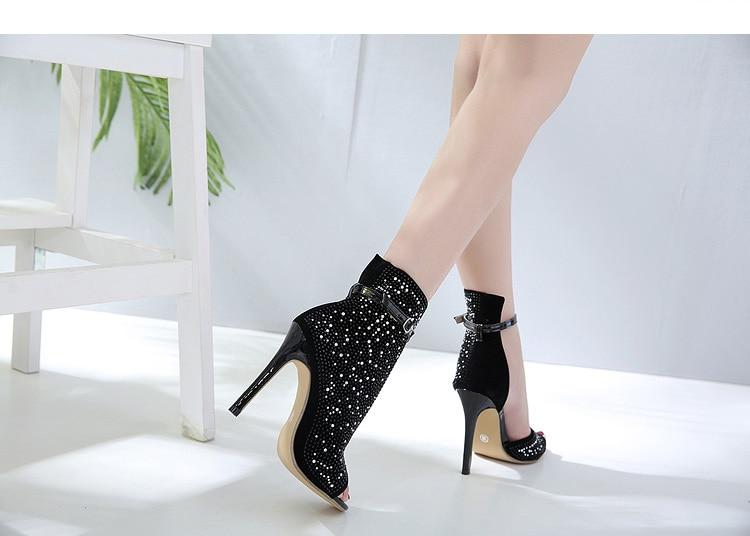 Dazzle Half Side Buckle High Heels