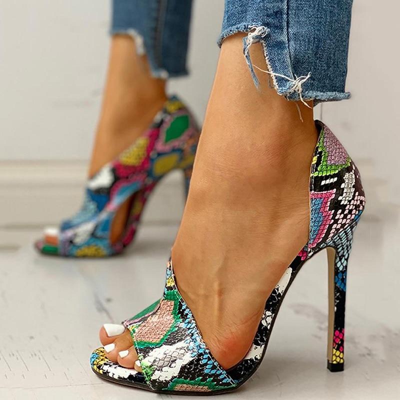 Snakeskin Multi Print Plain Heels