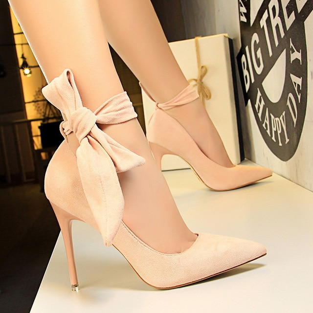 Flock Suede Bow Ankle Strap High Heels
