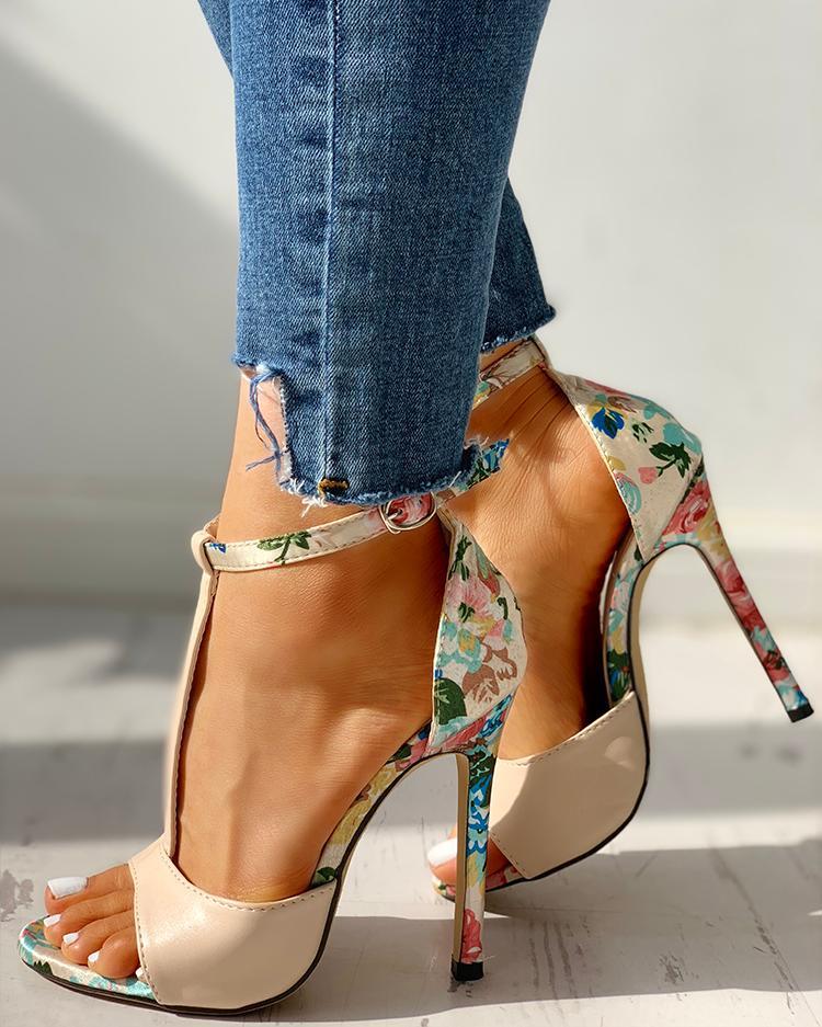 Floral T-Bar Platform Heels
