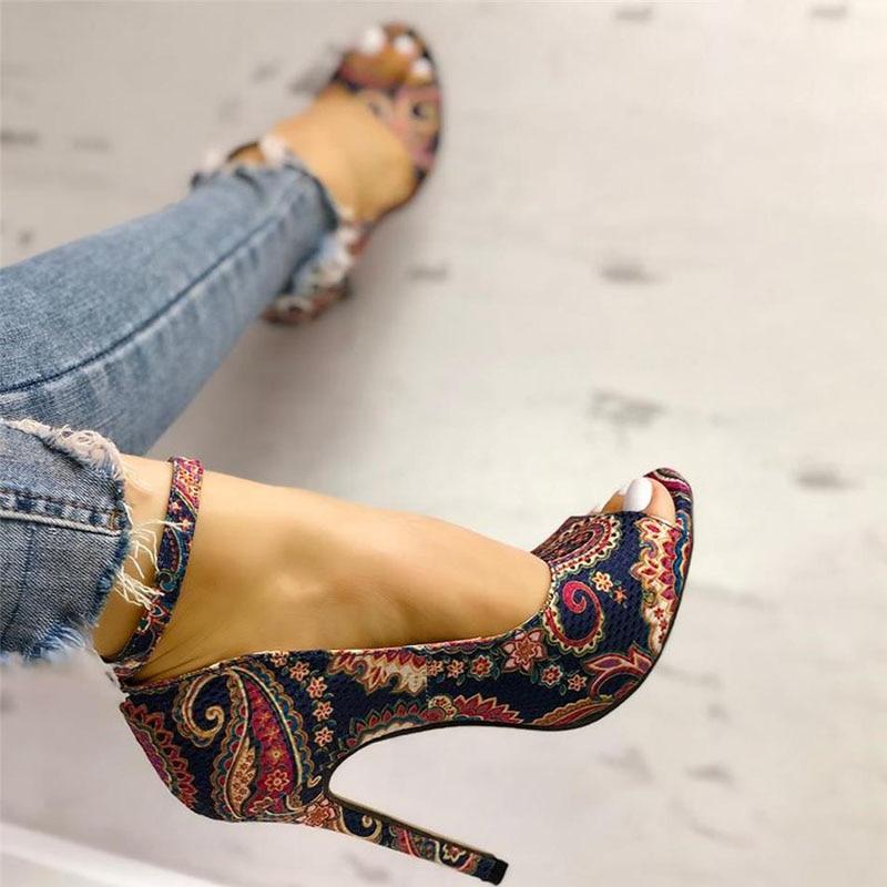 Multi-Colour Peep Toe Ankle Strap High Heels