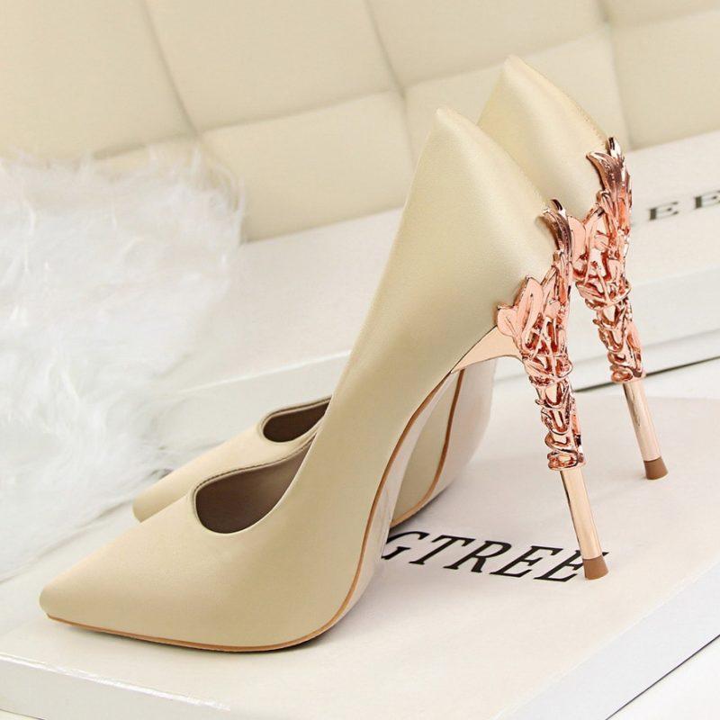 Metal Detail Silk Pointed High Heels