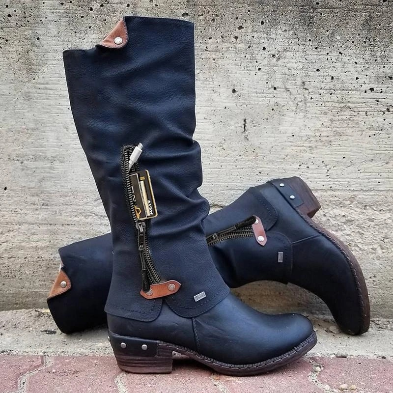 Mid Zipper Solid Round Toe Boots