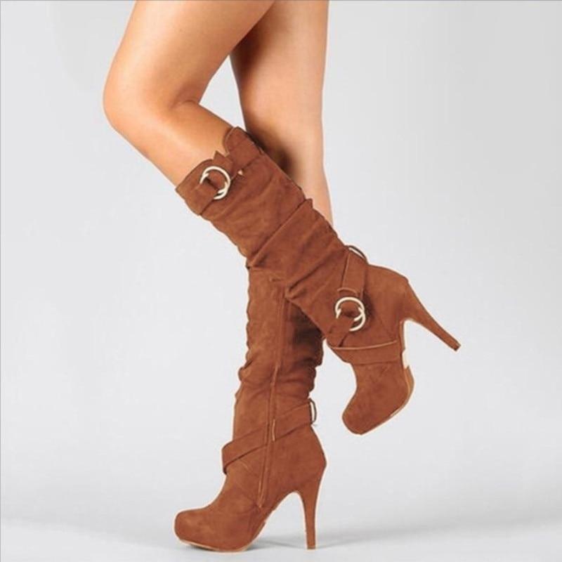 Flock Strap Knee-High Platform Boots