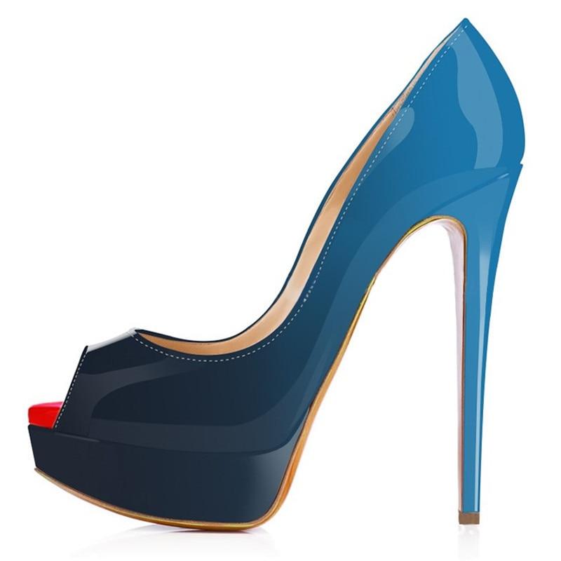 Two-Toned Platform Peep Toe High Heels
