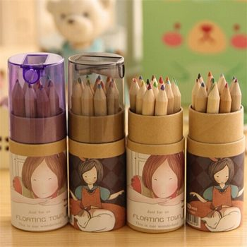 12 Colouring Pencils Holder with Sharpener