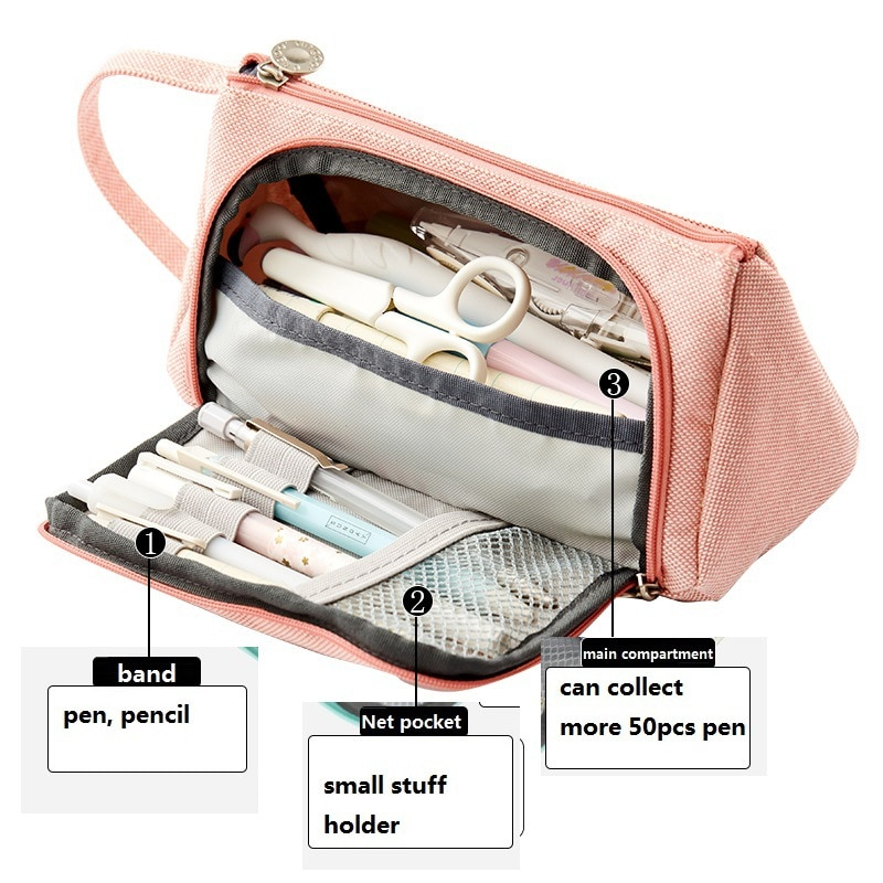 Front Open Pocket Large Capacity Pencil Case