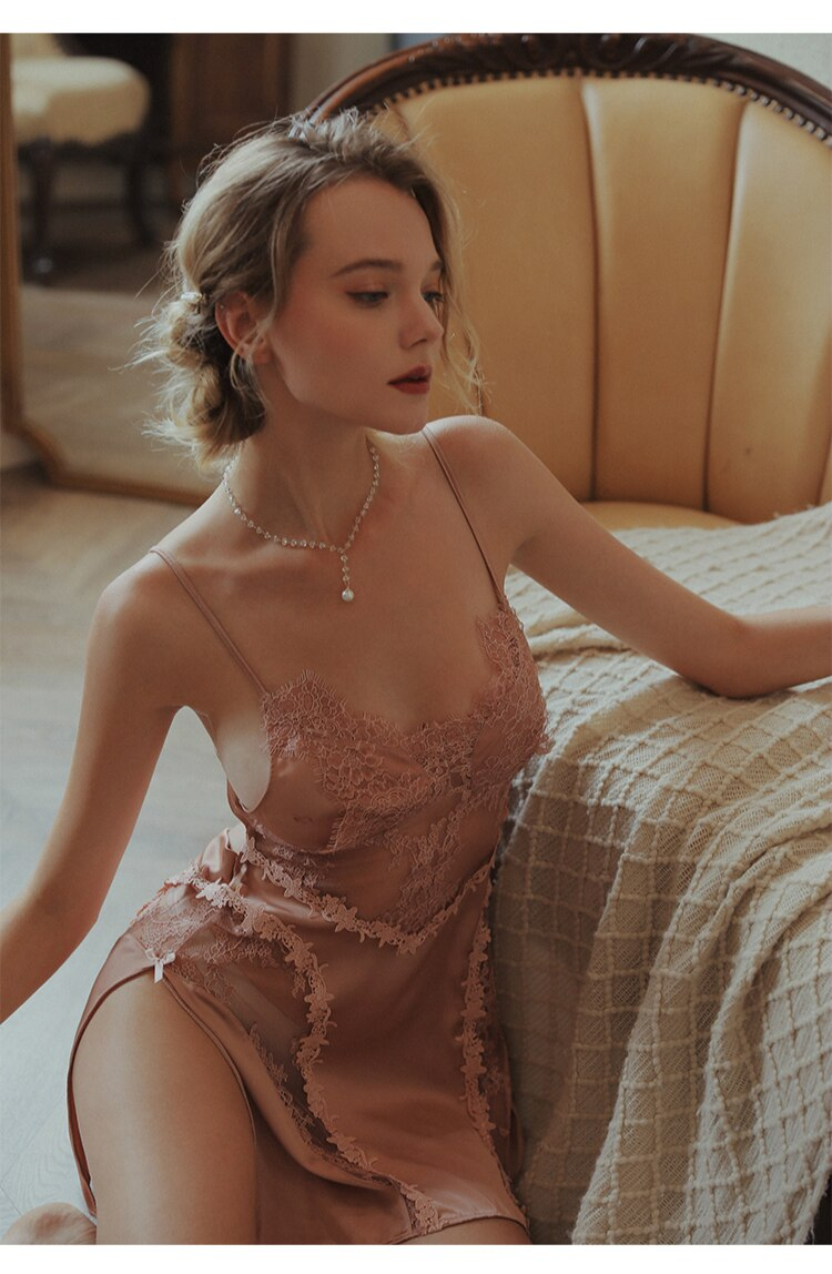 Silk Lace Backless Dress Nightgown Robe