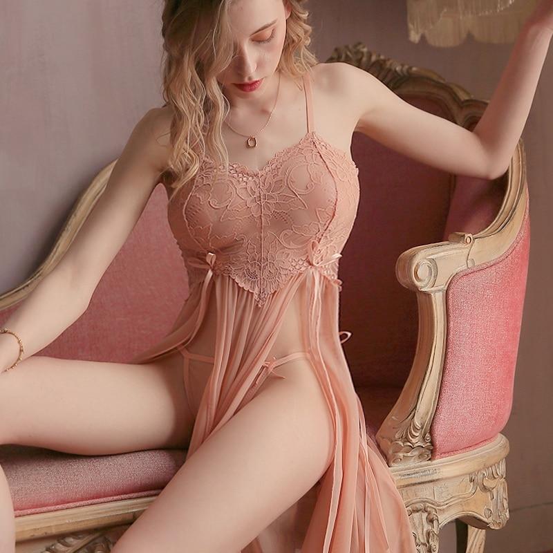 Long Lace Split Nightdress and Panty Set