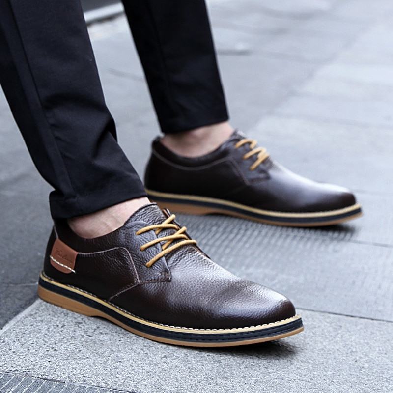 Leather Oxford Brogue Lace-up Dress Shoes