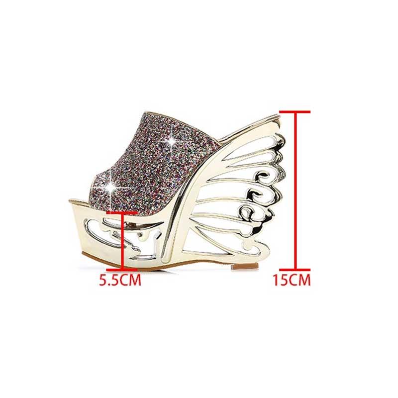 Gold Silver Winged High Heel Platform Shoes